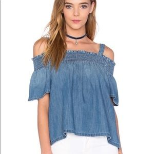 🆓📦 CURRENT/ELLIOT Madeline Smocked Chambray Top